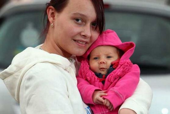 Picture of Emma French and her baby. French is now famous all over the world for passing her driving test while in labor.