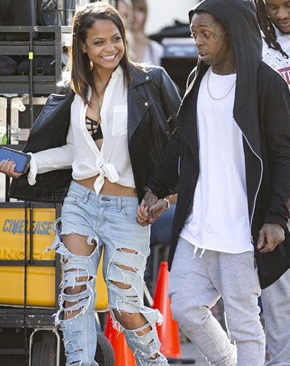 Christina Milian and Lil Wayne pictured together leaving a movie set in Hollywood.