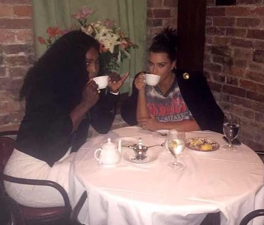 Serena Williams and Kim Kardashian having dinner together in a New York restaurant on Monday, September 7, 2015.