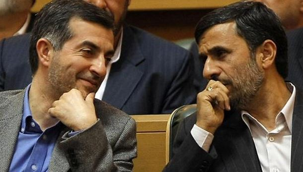 Mahafarid Amir Khosravi and former President of Iran Mahmoud Ahmadinejad.