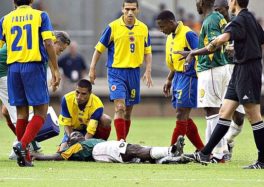 Marc-Vivien Foe moments after he collapsed.