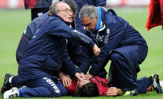 Doctors and medical staff trying their best to revive Morosini after his collapse on the pitch.